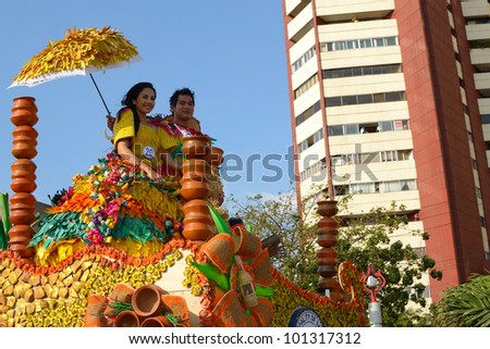 MANILA, PHILIPPINES - APR. 14: contestants in their cultural dress pauses during Aliwan Fiesta, which is the biggest annual national festival competition on April 14, 2012 in Manila Philippines. - stock photo