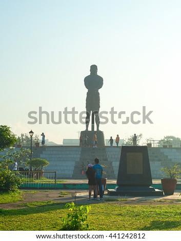 MANILA, PHILIPPINES - APRIL 01, 2012: The Statue of the Sentinel of Freedom (statue of Lapu-lapu) in Luneta park, Metro Manila, Philippines  - stock photo