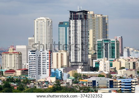 Manila, Philippines - Dec 20, 2015. View of Manila downtown with many buildings, Philippines. Manila is the second most populous city in the Philippines with a population of 1,652,171.
