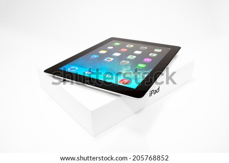 Manila,Philippines - July 17, 2014: Apple Ipad 4th generation (Retina Display) with with iOS 7 home screen. iOS 7 new operation system from Apple Inc. It was released on September 18, 2013. - stock photo