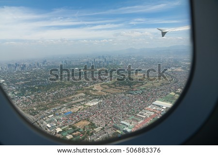 Manila view from the airplane, Philippines
