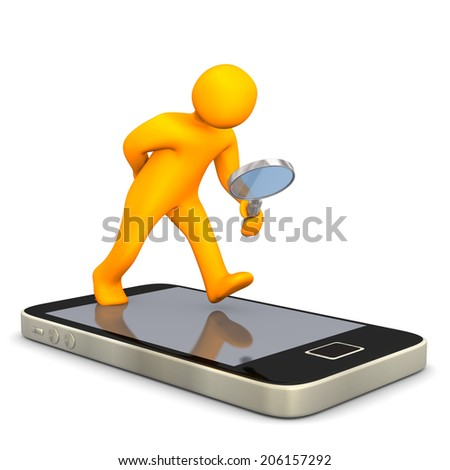 Maninkin with smartphone and loupe on the white background. - stock photo