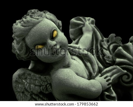 Manipulated marble sculpture of an angel with an evil expression against black background - stock photo
