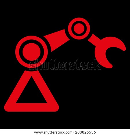 Manipulator icon from Business Bicolor Set. This flat raster symbol uses red color, rounded angles, and isolated on a black background. - stock photo