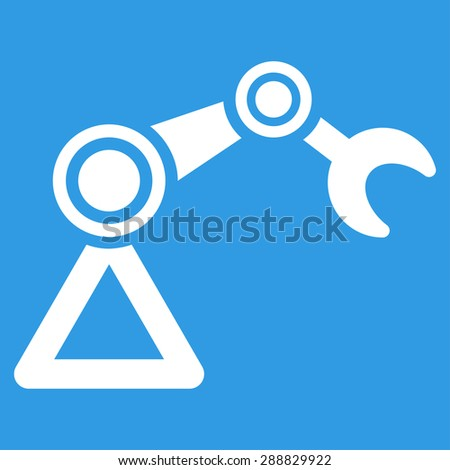 Manipulator icon from Business Bicolor Set. This flat raster symbol uses white color, rounded angles, and isolated on a blue background. - stock photo