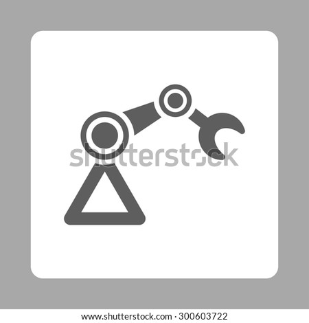 Manipulator icon. This flat rounded square button uses dark gray and white colors and isolated on a silver background. - stock photo