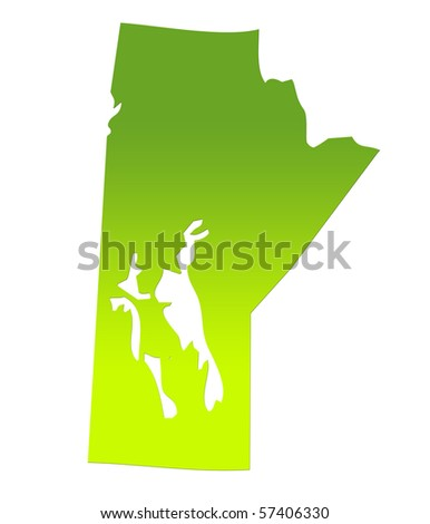 Manitoba province of Canada map in gradient green, isolated on white background. - stock photo