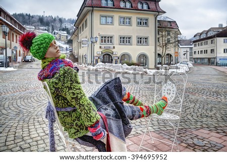 Mannequin at the market place in Saint Blaise, a spa town in the Black Forest in South Germany - stock photo