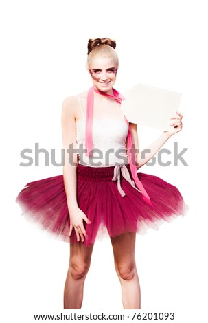 Mannequin Dancer Doll In Maroon Tutu Displaying And Advertising A Price Tag In A Dance Discount And Shopping Sale Concept, Isolated On White Background - stock photo