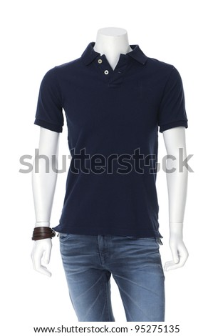mannequin dressed in t-shirt clothes in jeans ,isolated