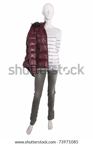 Mannequin dresses in female clothes, isolated on white - stock photo