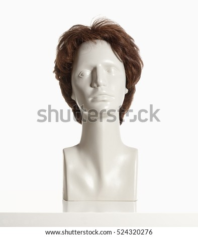 Mannequin Female Head with Wig on White