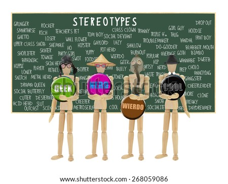 Mannequin Geek, Nerd, Wierdo and Cool in front of Stereotypes Chalkboard isolated on white background - stock photo