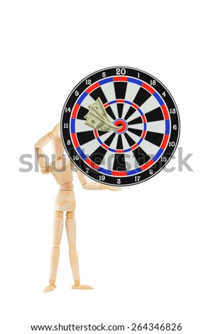 Mannequin holding bulls eye target with one hundred dollar bills isolated on white background - stock photo