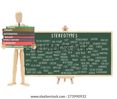 Mannequin school books: Stereotype Chalkboard on Easel (Nerd, Cutter, Metrosexual, Wall Flower, Geek, Pothead, Snob, Thug, Ghetto, Outcast, Acid Head, Social Deviant, Tranny, Artsy, Skater) - stock photo