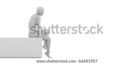 mannequin sitting on a bench - stock photo