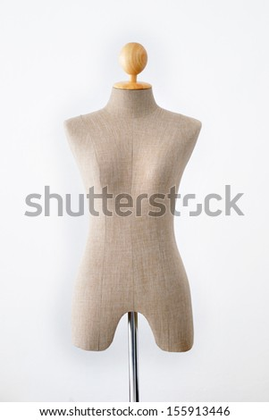 Mannequin tailors, plastic figure of child on white background