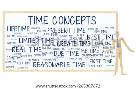 Mannequin Time Concepts Blackboard: Present, Best, Limited, Last, Lifetime, Flex, Reasonable, Actual, Due, Real, alone, bedtime, wintertime, worst, idle, good, spring, overtime, crazy, peace, donate - stock photo
