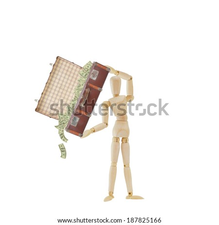 Mannequin tossing money from vintage old suitcase isolated on white background