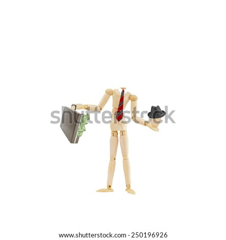 mannequin wearing businessman attire red tie holding his head wearing a hat and attache briefcase overflowing with us currency one hundred dollar bills isolated on white background - stock photo