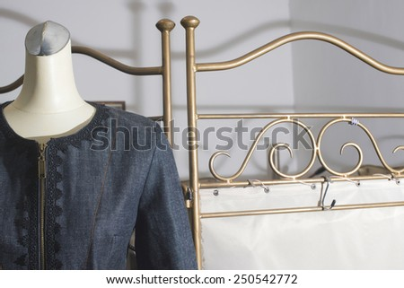 Mannequin with clothing. Vintage style. Bulgaria, Plovdiv - stock photo