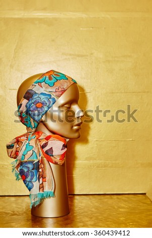 Mannequin with silk cloth.  - stock photo