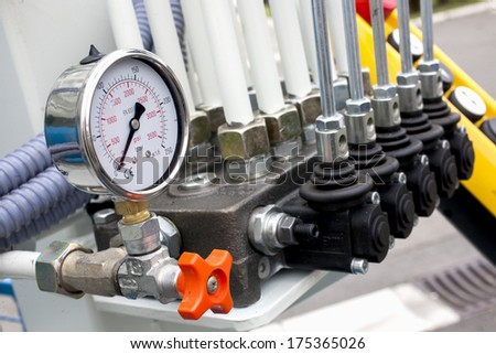Manometer as a part of a machine - stock photo