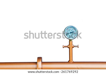 Manometer equipment of brewery and white background. - stock photo