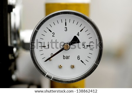 Manometer of an air compressor - stock photo