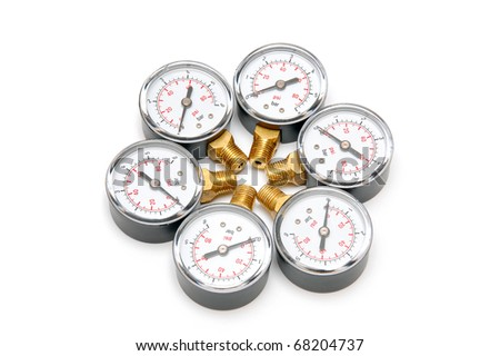 Manometers for pressure measurement on a white background - stock photo