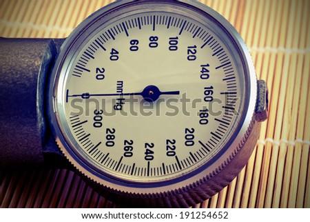 Manometric of the old tonometer. Vintage style - stock photo