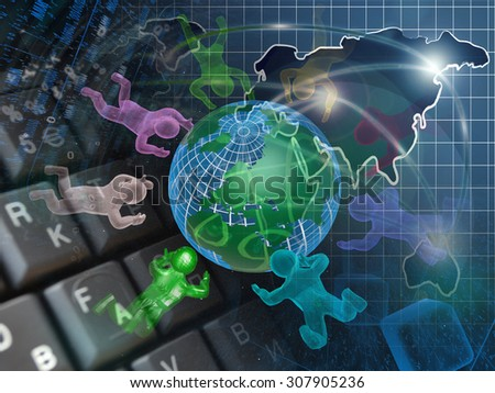 Mans and map - abstract computer background. - stock photo