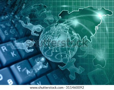 Mans and map - abstract computer background in greens and blues.