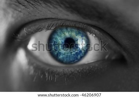 Mans blue eye close up - stock photo