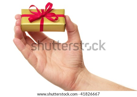mans hand and gift over white background