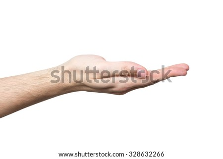 Mans hand isolated on white background