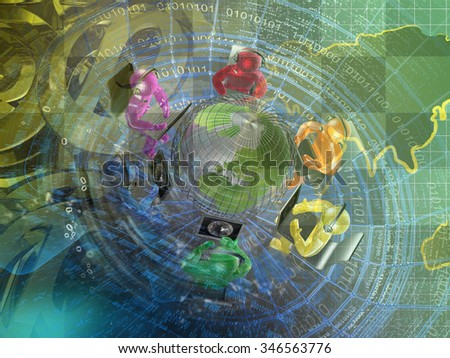 Mans, mail signs and map - abstract computer background. - stock photo