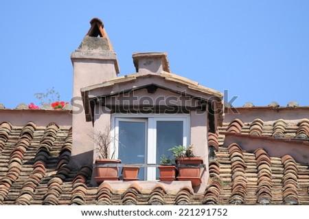 Mansard window - stock photo