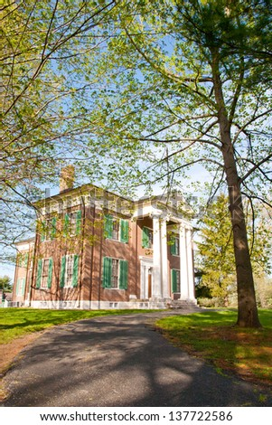 Mansion in Waveland State Historic Site at spring. Lexington, Kentucky, USA - stock photo