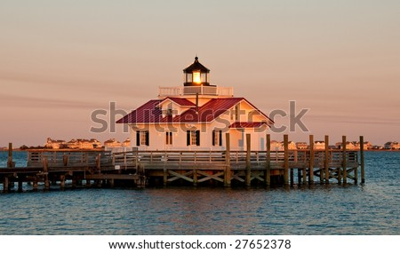 manteo Roanoke marshes lighthouse at sunset