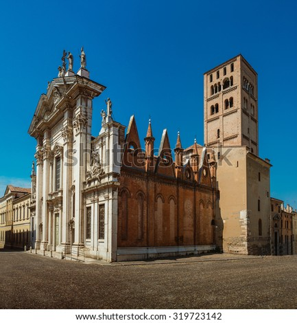 Mantua Cathedral (Cattedrale di San Pietro apostolo, Duomo di Mantova) in Mantua, Lombardy, northern Italy, is a Roman Catholic cathedral dedicated to Saint Peter. It is the seat of Bishop of Mantua. - stock photo