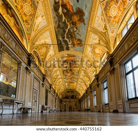 MANTUA, ITALY - APRIL 28 2016: Interior of the 13th century Mantua's Ducal Palace, a major tourist attraction and a part of the Mantua UNESCO World Heritage Site.