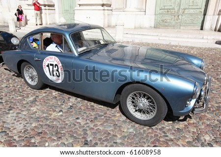 MANTUA, ITALY - SEPTEMBER 19: A 1956 Aceca Sport Coupè parades at Gran Premio Nuvolari in honor of famous Italian car champion Tazio Nuvolari September 19, 2010 in Mantua, Italy.