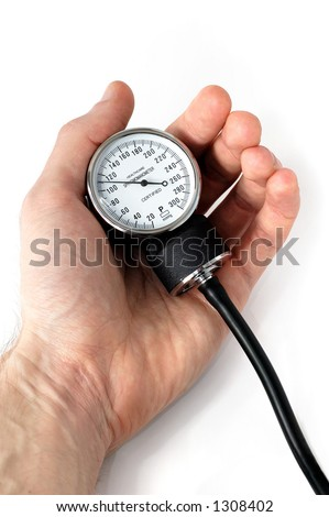 Manual blood pressure monitor in male hand medical tool isolated on white background