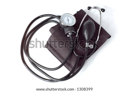 Manual blood pressure monitor medical tool isolated on white background