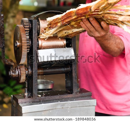 manual mechanism for squeezing juice from sugar cane - stock photo