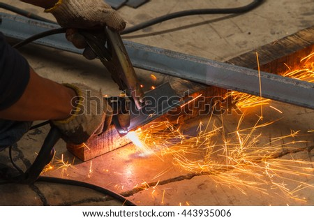 Manual Plasma Cutting Machine in Manufacturing Industry -  Hazardous Conditions Working.