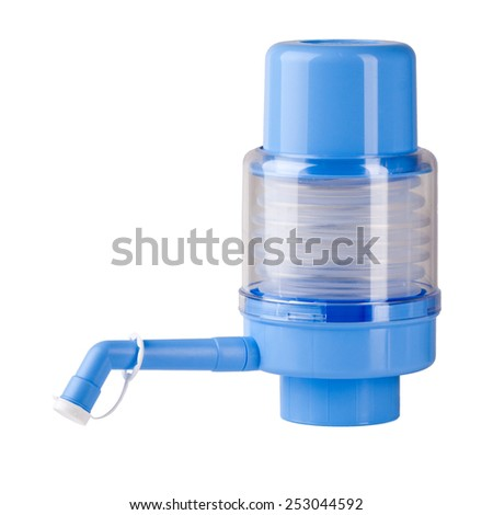 Manual water pump isolated on white. - stock photo