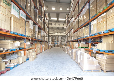 Manufacturing and storage warehouse horizontal indoor view - stock photo