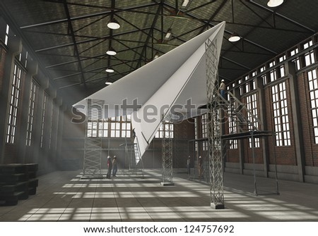 Manufacturing paper plant - stock photo
